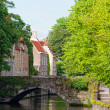 Classic view of channels of Bruges. Belgium. Medieval fairytale city. Summer urban landscape — Stock Photo #13579171
