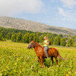 Happy girl riding a horse bareback at mountains — Stock Photo #13579246