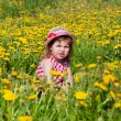 Little girl on a glade with dandelions — Stock Photo #13579648
