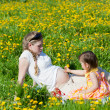 Young mother with the small daughter on summer walk — Stock Photo #13579662