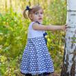 niña en un vestido de años los costos en un abedul — Foto de Stock