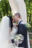 świeżo żonata para całować po ceremonii ślubnych — Zdjęcie stockowe