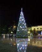 New Year tree on a city street — Stock Photo