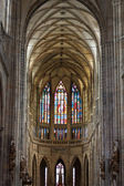 Interior of Saint Vitus Cathedral within the Castle of Prague — Stock Photo