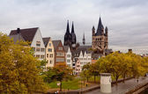 Rhein River Embankment in Cologne in the autumn in cloudy day — Stock Photo