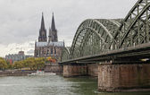 Cologne Cathedral and river Rhein — Stock Photo