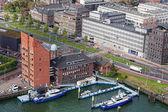 Widok z góry na parkingu jachtów w marine w rotterdam, holandia — Zdjęcie stockowe