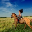Beautiful girl riding a horse in countryside — Stock Photo