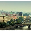 Prague, view of the Vltava River and bridges in a morning fog — Stock Photo #14080554