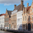 Stock Photo: Classic view of channels of Bruges. Belgium. Medieval fairytale city. Summer urban