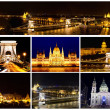 Stock Photo: Card with views of night Budapest