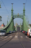 BUDAPEST, HUNGARY - JUNE 8:view of Freedom bridge (Szabadsag hid) , on June 8, 2012 in Budapest, Hungary — Stock Photo