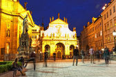 Prague, view of St. Salvator's cathedral at night — Stok fotoğraf