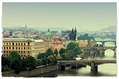 Prague, view of the Vltava River and bridges in a morning fog — Stock Photo