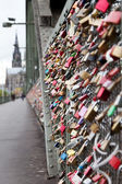 Fidelity locks on the railway bridge in Cologne — Stok fotoğraf