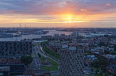 View of Rotterdam from height of bird's flight at night — Stock Photo