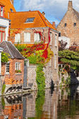 Classic view of channels of Bruges. Belgium. Medieval fairytale city — Stock Photo