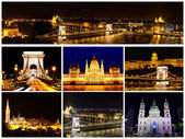 Card with views of night Budapest — Stock Photo