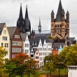 Stock Photo: Rhine River Embankment in Cologne in autumn in cloudy day