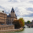 Paris a view of a palace on Seine Embankment — Stock Photo