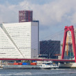 View of Willemsbrug Bridge in Rotterdam on the Maas River, Holland - Stock Photo