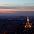Stock Photo: Night in Paris with Eiffel tower, most visited monument of France