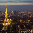 Night in Paris with Eiffel tower, most visited monument of France — Stock Photo