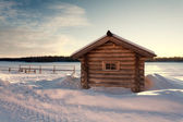 Wooden swimming bath on the bank of the lake, the Solovki, Russia. — Stock Photo