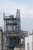 View of big oil refinery of a sky background — Stok fotoğraf