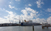 View of cargo port in Rotterdam, the biggest port in Europe — Stock Photo