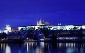Night view of Prague - river Vltava, Gradchany, — Stock Photo