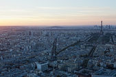 Aerial view of Paris at sunset — Stock Photo