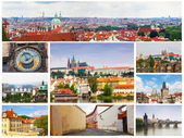Card with day views of Prague — Stock Photo
