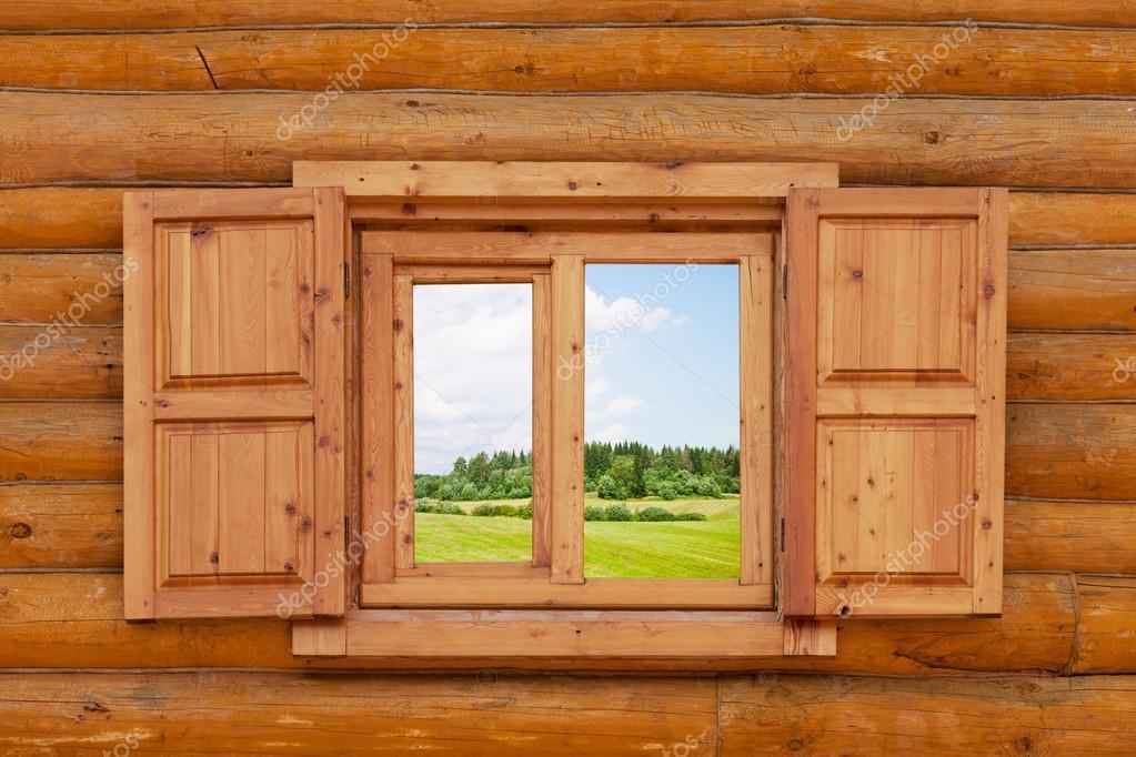 Рисунок окно деревянного дома