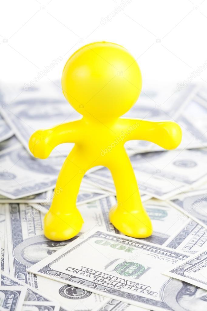 petit bonhomme jaune de se pr senter aux dollar photographie lenorlux 16274471. Black Bedroom Furniture Sets. Home Design Ideas