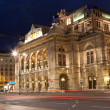 Stock Photo: VIENNA, AUSTRIA - JUNE 9,2012. Vienna state opera at night, Vienna, Austria, June 9, 2012. The Vienna opera - the largest opera theater in Austria, the center of musical culture.
