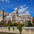 Cathedral of Notre Dame de Paris sunny autumn afternoon - Stock Photo