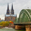 Wonderful view of Cologne over the Rhein river - Stock Photo
