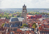 Top view to Bruges and the cathedral St. Sauveur, the oldest brick church of Belgium — Stock Photo
