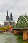 Wonderful view of Cologne over the Rhein river — Stock Photo