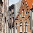 Medieval houses on streets of Bruges, Belgium - Stock Photo