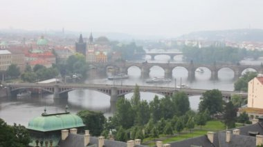 Prague, view of the Vltava River and bridges in a morning fog — Stock Video