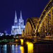 Cologne Cathedral and river Rhine - Stock Photo