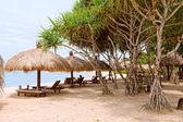 Toldos de sol en una playa de bali — Foto de Stock