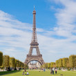 PARIS - OCT. 1: Eiffel Tower against the blue sky and clouds, Paris France on October 1, 2012 in Paris — Stock Photo