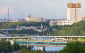 Moscow, view of the Luzhnetsky metro bridge and Moskva River — Stock Photo