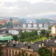 Prague, view of the Vltava River and bridges in a morning fog — Stock Photo #20227387