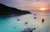 Sunrise over the Andaman Sea. Similan's island, Thailand — Stock Photo