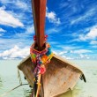 Longtail, the traditional Thai boat, against the blue sky with beautiful clouds — Stock Photo