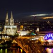 View of Cologne and the Cologne cathedral in the night - Stock Photo